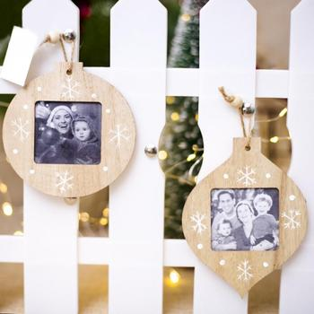 2pcs Christmas Wooden Photo Frame Pendant Christmas Deer Decorations Ornaments Christmas Decorations for Household Suplice image