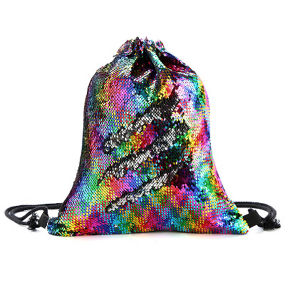 Women Girls Reversible Sequin Backpack Large Capacity Drawstring Dance Bag K2