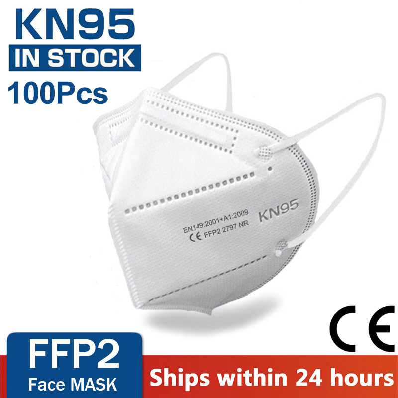 100 pieces KN95 face mask 5 layer filter dust port PM2.5 mascarillas FFP2 Nonwoven health Protective N95 mask fast delivery