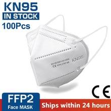 100 pieces kn95 máscara facial 5 camada filtro poeira porta pm2.5 mascarillas ffp2 não tecido saúde protetora máscara n95 entrega rápida