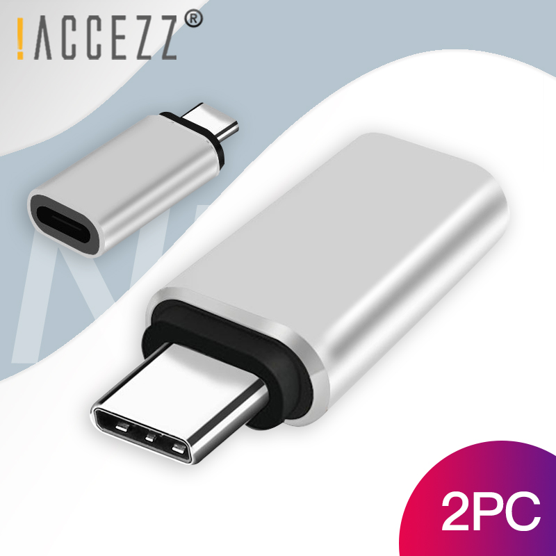 !ACCEZZ 2PC Type C OTG Adapter For IPhone Cable Female Type-c  Data Charging Connector For Huawei P20 Pro Mate 20 Samsung S9 S10