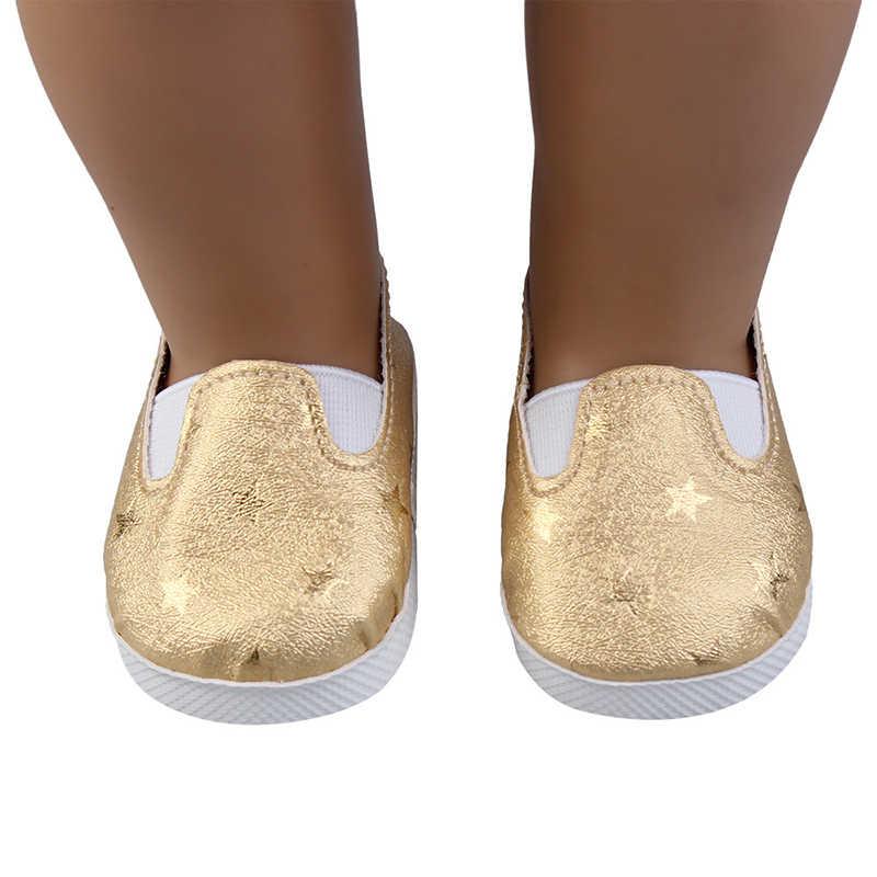 7cm Pu Leder Schuhe Schöne Leinwand Schuhe Mit Stern Für 43cm Neue Bron und Amerikanischen DIY Mädchen, unsere Generation Puppen Spielzeug