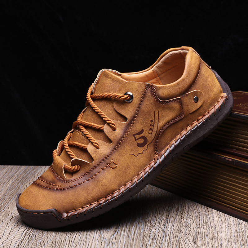 British Microfiber Leather Men Casual Shoes 2020 Hand Made Men's Flat Walking Shoes Breathable Outdoor Leisure Shoes Driving 48