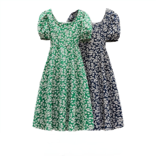 HOUZHOU Summer Plus Size 4xl Dress Women Floral Elegant Vintage Puff Sleeve Square Collar Casual Sundress Holiday Sweet Dresses