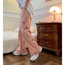 Calças de brim femininas 2021 nova rosa vintage bordado streetwear cintura alta perna larga calças baggy harajuku reta mãe denim