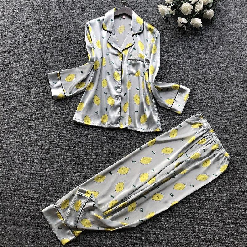 Image 3 - 2019 Autumn New Printing Fashion Pajamas Long Sleeve Stain High Quality Pyjamas Cardiagan Trousers Twinset SleepwearPajama Sets   -