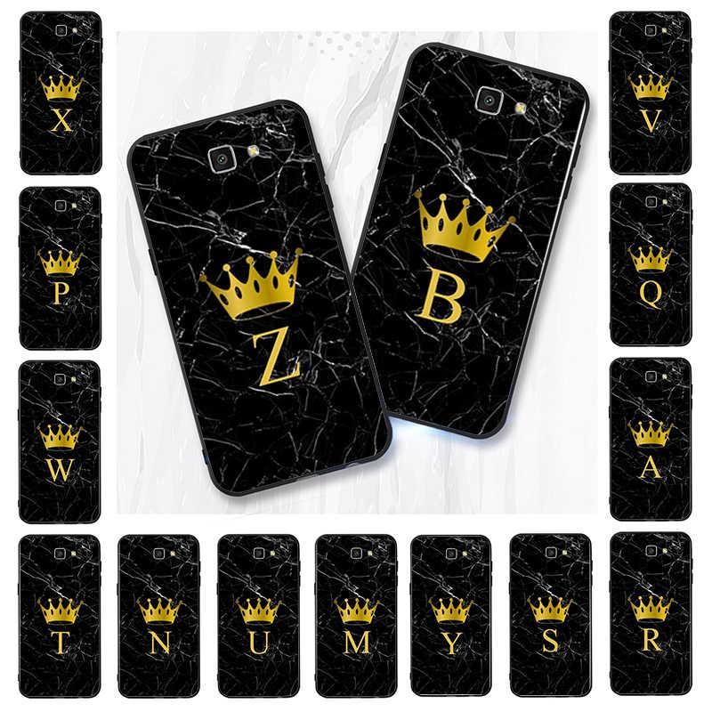 Lvtlv diy iniciais nome letra monograma preto coroa de mármore caso telefone para samsung j7 j6 j8 j4 j4plus j7 duo j7neo j2 j5 prime