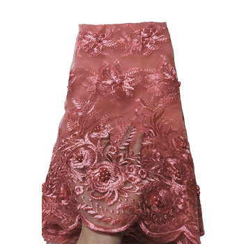 Latest Tulle Lace Fabric High Quality Europe And American Fashion Fabric With Beads Stone French lace Fabrics