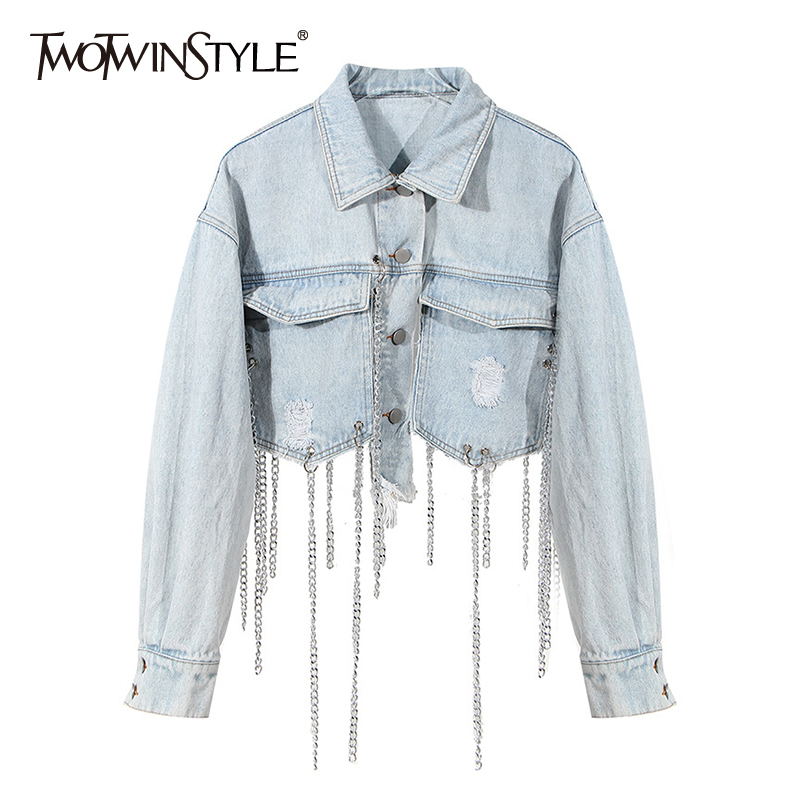 TWOTWINSTYLE Black Patchwork Chain Tassel Jacket For Women Lapel Long Sleeve High Street Casual Jackets Female 2020 Autumn New