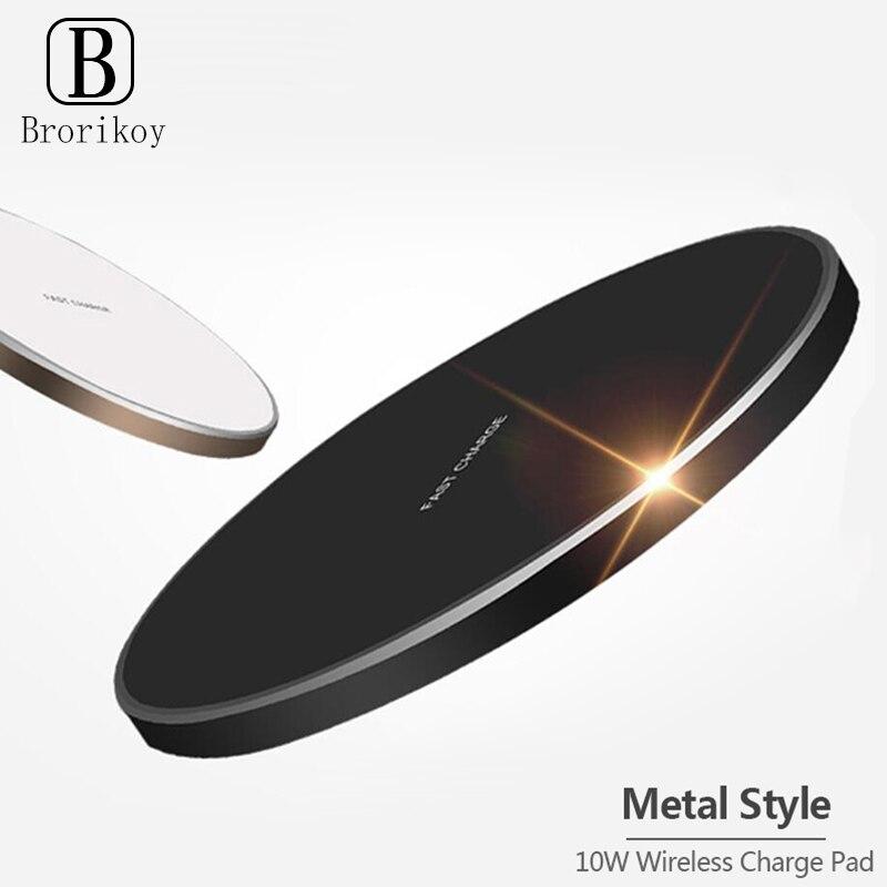Беспроводное зарядное устройство 10 Вт, ультратонкий металлический коврик, Быстрая Зарядка Qi, светодиодная лампа для iPhone 11, Samsung, Xiaomi, Беспров...