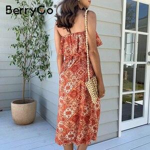Image 3 - BerryGo bez rękawów kobiety sukienka boho Sexy bez ramiączek potargane kwiatowy print letnia sukienka wysokiej wais sash wakacje plaża sukienka kobieta