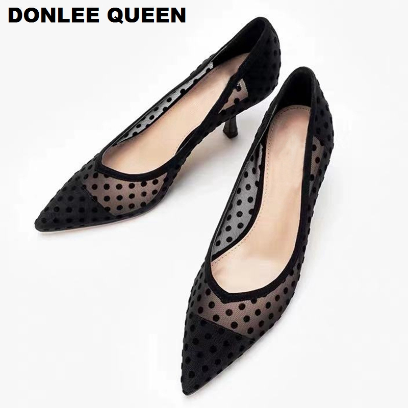 2020 Spring Thin Heels Pumps Shoes Women Pointed Toe High Heel Work Shoes Polka Dot Mesh Vintage Elegant Shallow Pumps For Party