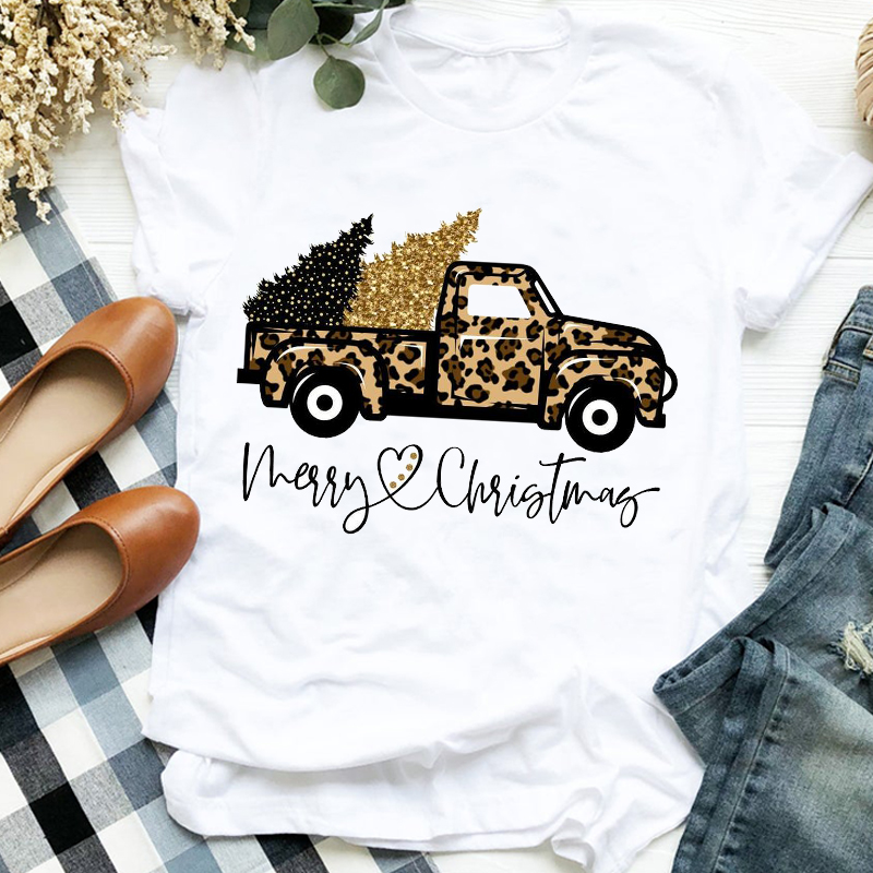 Women Lady Leopard Truck Tree Autumn Winter Merry Christmas Womens Clothes Shirt T Tee for Tshirt Female Top Graphic T-shirt 1