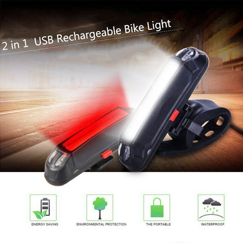 XANES 2 In 1 500LM Bicycle USB Rechargeable LED Bike Light Taillight Warning Night For Camping Car Lamp Torch Lantern Cycle