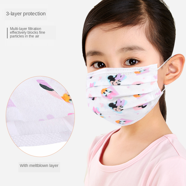 Cartoon Kids Disposable Mask 3 Layer Anti-Virus  Filter Flu Hygiene Dust Children's Protective Face Mask Earloop Fast Delievry