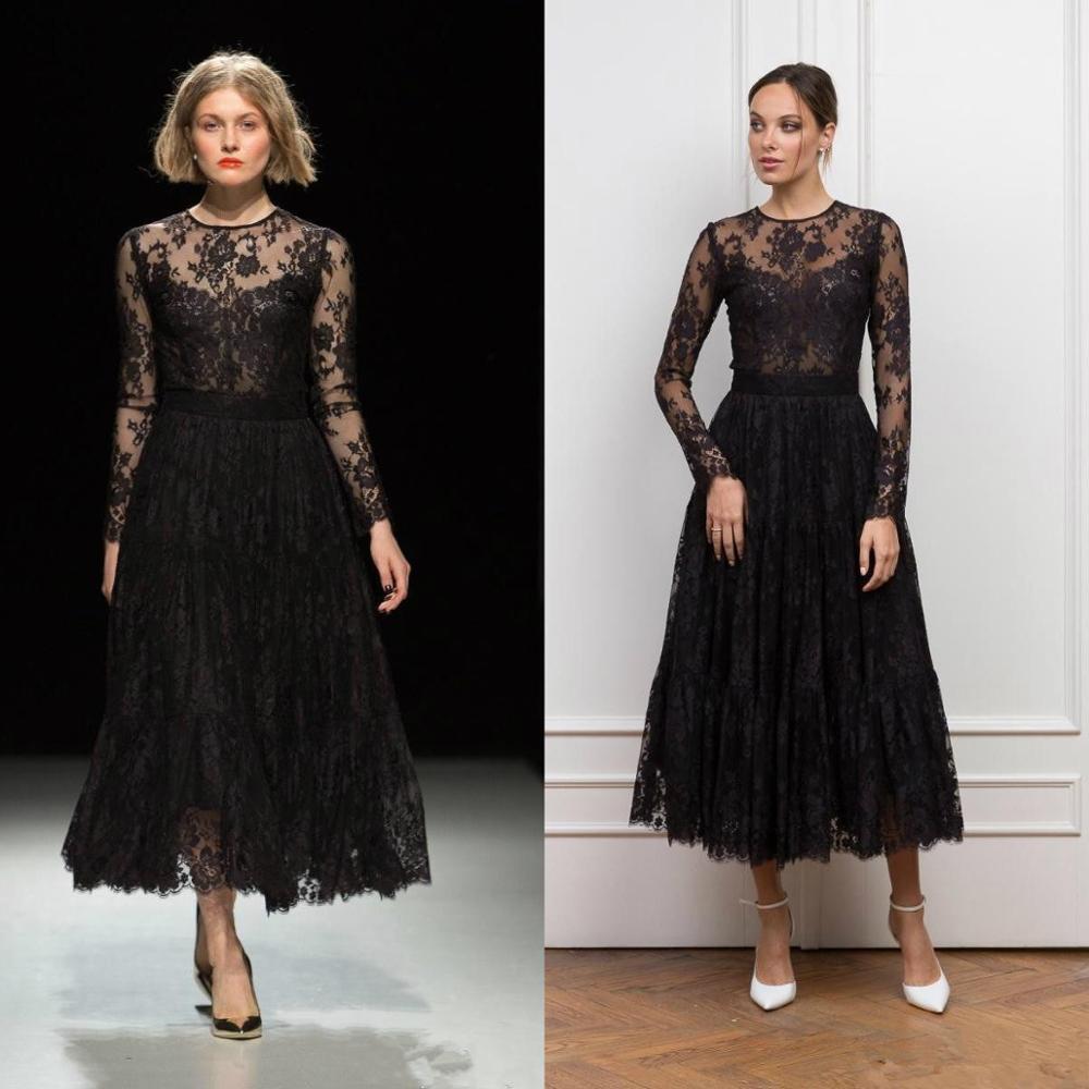 Gothique noir thé longueur robes de bal 2020 à manches longues bijou cou pleine dentelle Vintage robes tenue de soirée