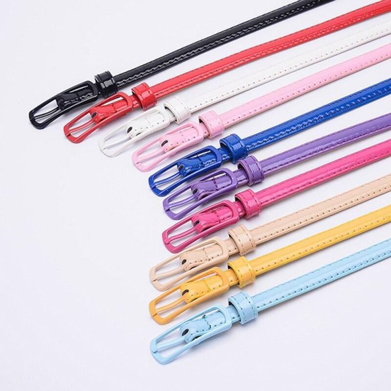 O 11 Color Belt Fashion Japanese Word Buckle Solid Color Female Belt Jeans Belt PU Belt For Women Dress Thin Belt 105cm