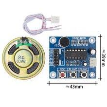 50 unids/lote ISD1820 Módulo de grabación de voz la placa de voz Placa de módulo de teledifono con micrófonos