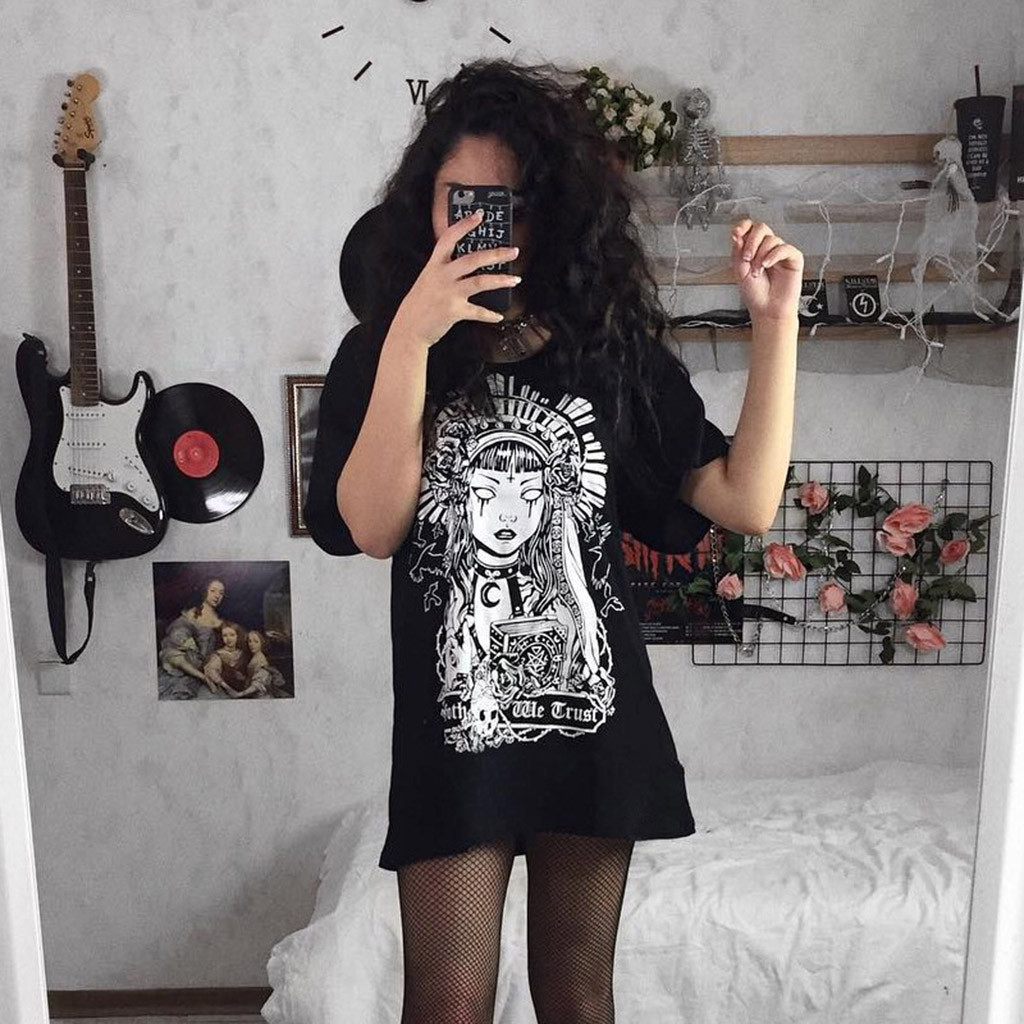 vestido de mujer Plus Size Women Street Gothic Style Punk Black Retro Printed Short Sleeve Dress femme robe платье 2021