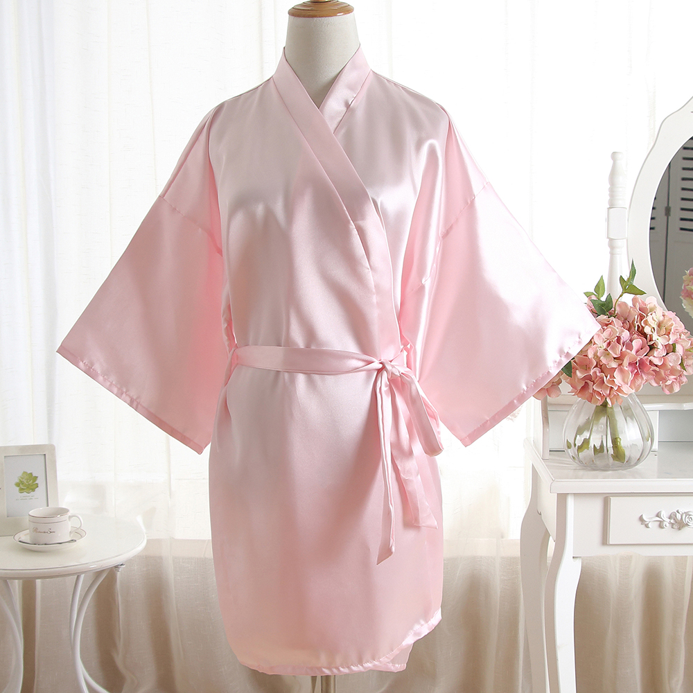 Summer New Women Bride Bridesmaid Wedding Robe Elegant Pink Solid Bathrobe Gown Casual Soft Kimono Robe Gown Satin Nightgown