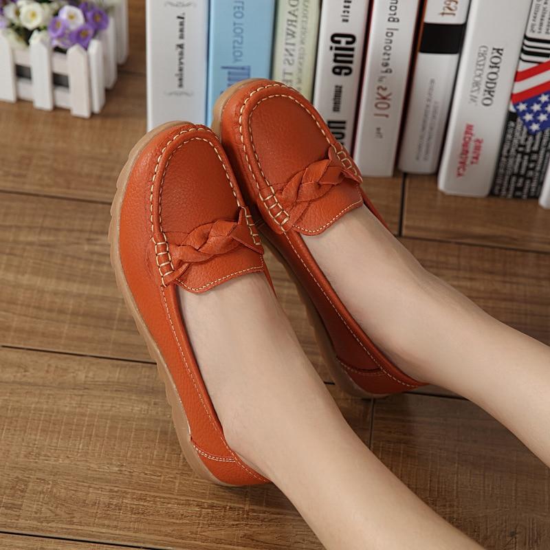 Женская обувь без застежки из натуральной кожи с мягкой подошвой; Повседневная обувь на плоской нескользящей подошве оранжевого и белого цвета; Zapatillas Mujer; Новинка|Обувь без каблука| | АлиЭкспресс