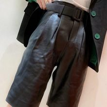 Brand 100%Real Leather Shorts Women Autumn Winter Sheepskin Casual Wide Leg Shorts Streetwear Sashes Black Shorts Plus Size 4XL(China)