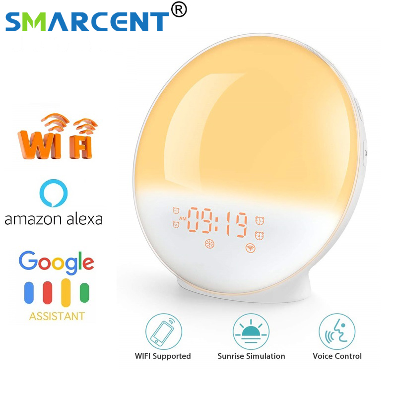 WIFI FM Radio Sunrise Alarm Clock Upgrade Smart Wake Up LED Sunrise Light APP With Alexa/Google 7 Colors Sunrise Simulation