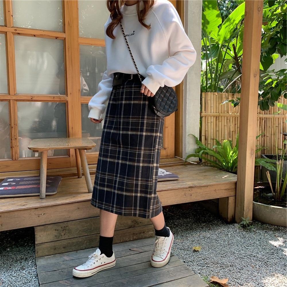 Korean-style WOMEN'S Wear Autumn Autumn And Winter Retro Hong Kong Flavor Plaid High-waisted Casual Skirt Mid-length Wrapped Ski