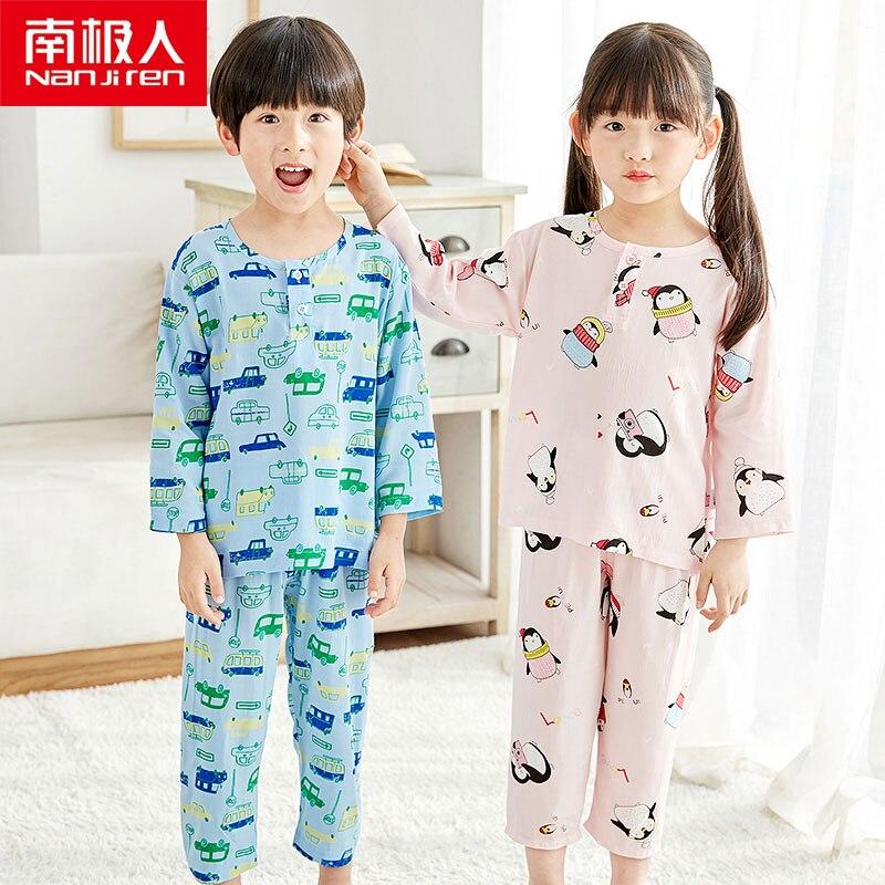 NANJIREN Kids Pajamas Set Girls Boy Sleepwear Nightwear Baby Infant Clothes Blue Color Pajama Sets Cotton Xxx Children Pajamas