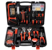 все цены на Hand Tool Set General Household Repair Hand Tool Kit with Plastic Toolbox Storage Case Socket Wrench Screwdriver Knife онлайн
