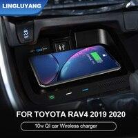 Cargador rápido inalámbrico Qi para coche, Panel de soporte de teléfono para Toyota RAV4 RAV 4 2019 2020, accesorios para coche