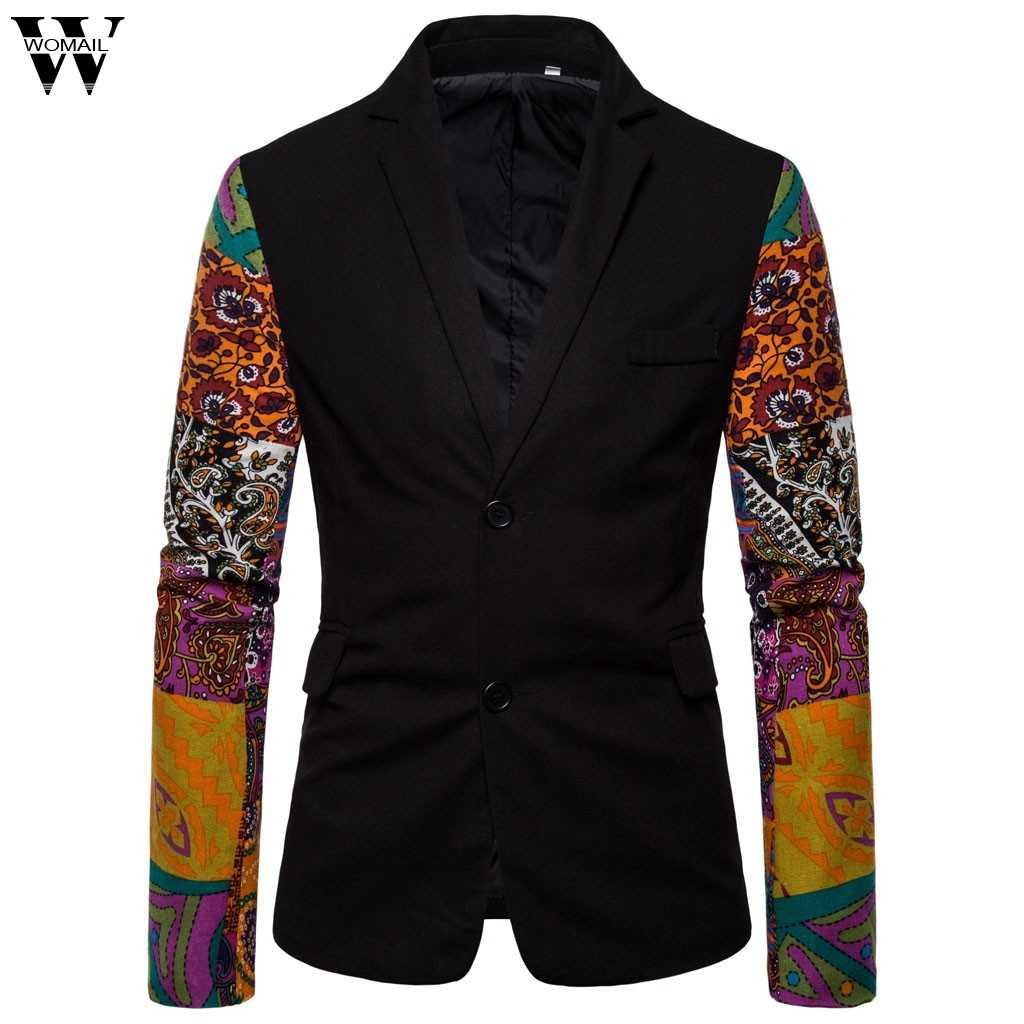 Womail صالح سليم أزياء القطن رقيقة سترة سترة زائد حجم M إلى 4XL الذكور الحلل عارضة خمر المطبوعة رجل معطف الزفاف