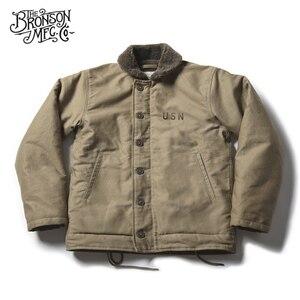 Image 1 - Vintage Bronson USN N 1 데크 자켓 WW2 군복 오토바이 남성 코트 3 색