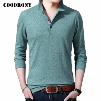 COODRONY Brand T Shirt Men Turn-down Collar Long Sleeve T-Shirt High Quality Business Casual Plaid Tee Homme Top C5017