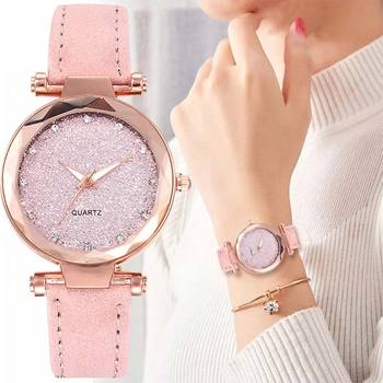 Fashionable Star Sky Exquisite Diamond Retro Leather Strap Quartz Ladies Watch Women Reloj Mujer Zegarek Damski Montre Femme