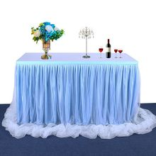 6ft Candy Color Tulle Table Skirt for Rectangle Round Desk Ruffles Tutu Tableware Wedding Birthday Party Decoration Tablecloth 4 color handmade tulle tableware tablecloth for party wedding banquet home decoration nice sweet table skirt