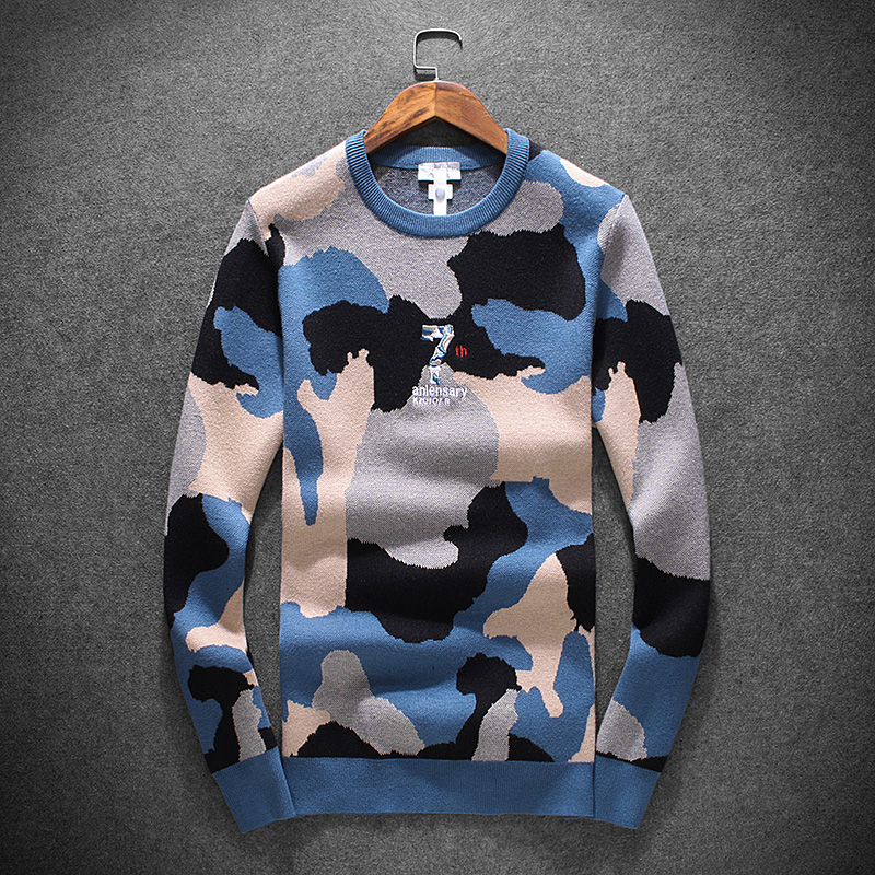 New 2019 Men Luxury Winter Classic Navy Camouflage Embroidered Casual Sweaters Pullover Asian Plug Size High Quality Drake #N111
