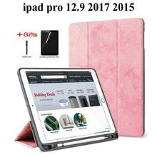 Slim Smart Protective Case For iPad Pro 12.9 2017/2015 Funda with Pencil Holder Cover for iPad Pro 12.9 tablet case+Film+Pen(China)