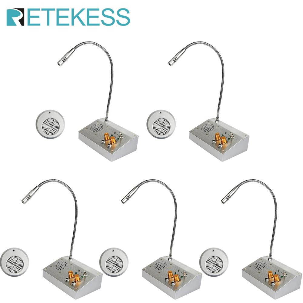 5pcs RETEKESS 2WDual Way Window Counter Intercom Voice System ForBank Office Store Station Hall Pharmacy Intercomunicador