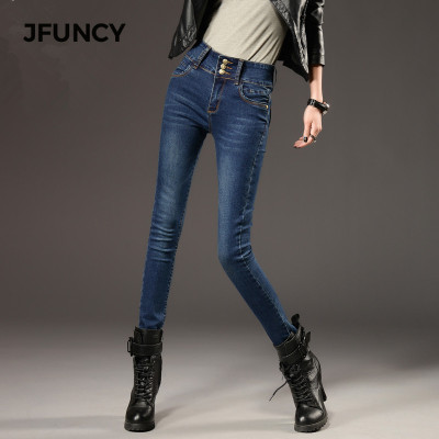 JFUNCY Women Winter Jeans Elastic High Waist Skinny Denim Pants Fleece Lined Jeggings Casual Plus Size Female Velvet Jeans Warm