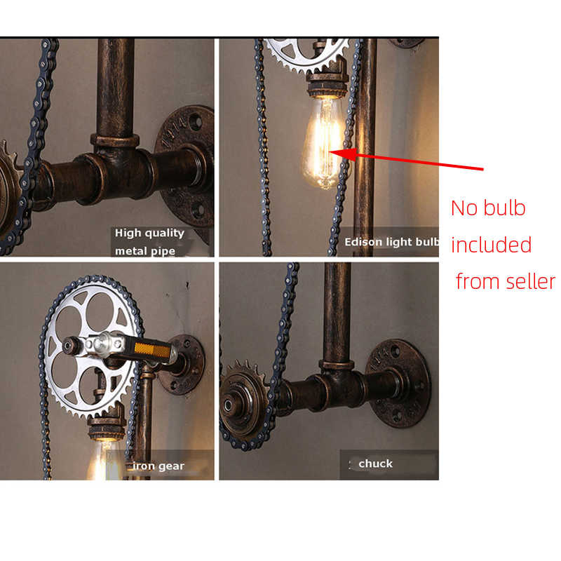 Loft Vintage Waterleiding Wandlamp, restaurant Bar Cafe Pub Slaapkamer Livng Kamer Trap Villa E27 Edison Gear Chain Wandkandelaar Beha