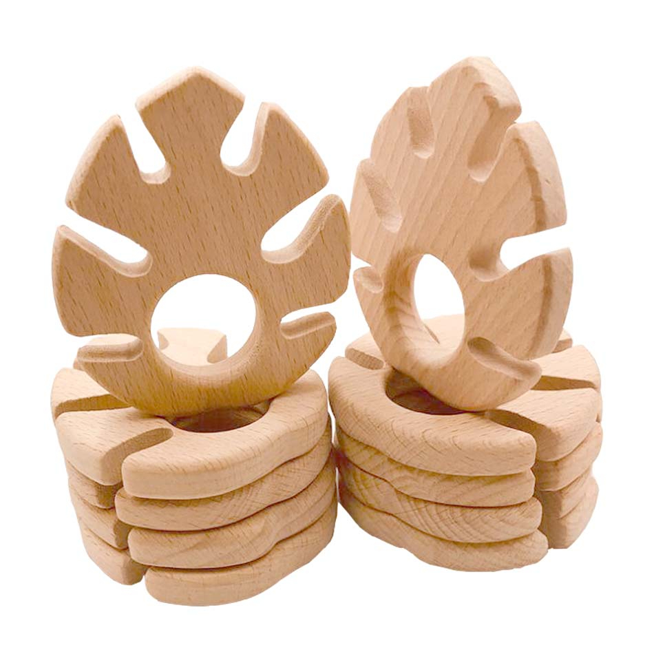 Baby Wooden Teethers Food Grade Beech Wood Leaf Shape Pacifier Wood Teether <font><b>New</b></font> <font><b>Born</b></font> <font><b>Toys</b></font> Relieve Toddler Teething Pain Free BPA image