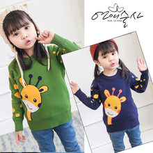2019 New Baby Girls Sweater with Deer Kids Spring Autumn Fashion Cartoon Pullover Knit Sweaters Tops for 2-7 Year Old