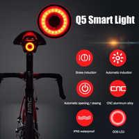ROCKBROS vélo intelligent détection de frein lumière démarrage automatique/arrêt IPx6 LED étanche charge vélo feu arrière vélo lumière accessoires