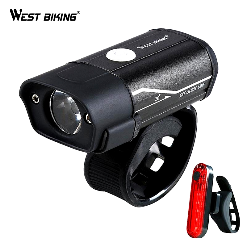 WEST BIKING Bicycle Light T6 L2 LED Bike Headlight Taillight Kit USB Rechargeable Battery Flashlight Cycling Torch Bicycle Lamp