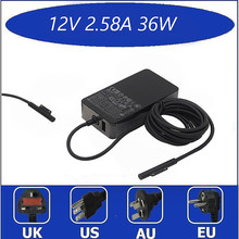 Alta qualidade 12v 2.58a 36w preto adaptador de alimentação ac carregador para microsoft surface pro 3 pro 4 tablet carregador ue/eua plug 10166