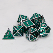 Metal Dnd Dice Sets Dungeons And Dragon D&D MTG RPG Polyhedral Role Playing Green Dice Gift 7PCS D20 D12 D10 D8 D6 D4