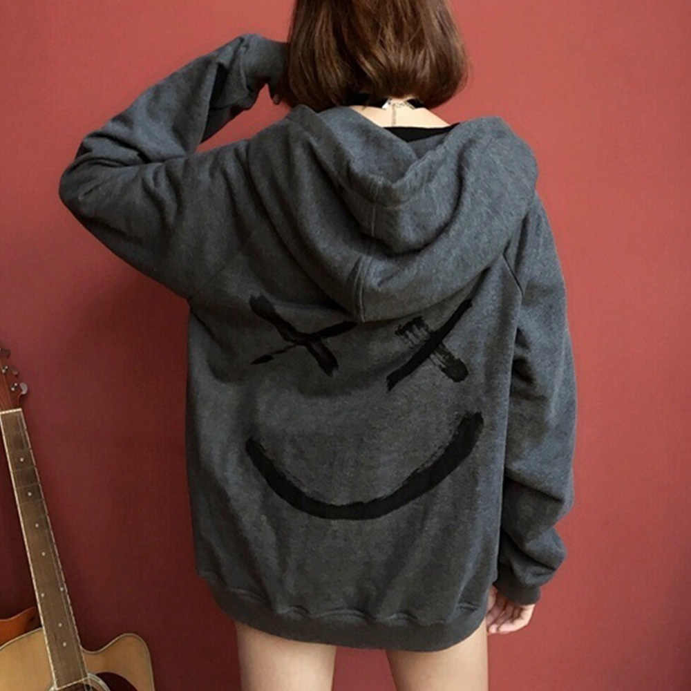 ชายเสื้อHoodies Happy Smiling Faceพิมพ์Headwear Hoodieผู้หญิงPatchwork Hoodies Hip Hop Streetwear Hooded Pullover