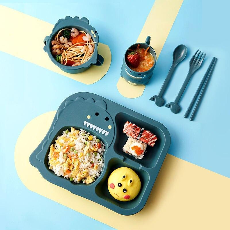 6 шт./компл. детская посуда с мультяшным динозавром, детский набор посуды, домашняя антигорячая тренировочная тарелка из пшеничной соломы, детские блюда для кормления 2