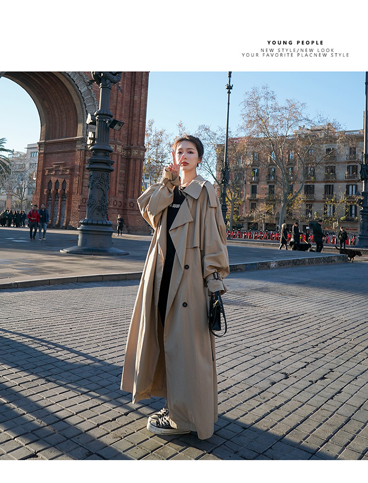 H3db7867de7a1418bb75890698852cd0aO Korean Style Loose Oversized X-Long Women's Trench Coat Double-Breasted Belted Lady Cloak Windbreaker Spring Fall Outerwear Grey